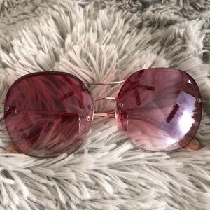 DIANE VON FURSTENBERG Pink Metal Rose Sunglasses